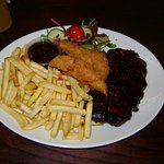 1/2 rack of ribs, southern fried chicken goujons & fries