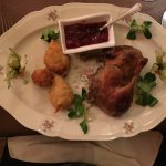 Roast duck thigh and leg with sour cherry sauce