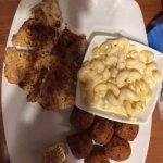 Grouper, mac & cheese and hushpuppies