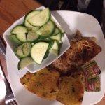 Grouper, cornbread, and steamed zucchini