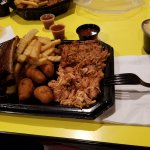 Pulled Pork/Ribs Combo with Hush Puppies, Fries and Man n Cheese