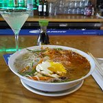 Chicken-Rice Noodle Soup with Pineapple Martini