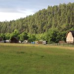 Tatanka Theater (barn) & sleeping cabins at Game Lodge Campground