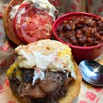 build your own burger and baked beans