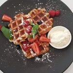 Belgium waffles with berries and vanilla cream were scrumptious