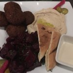 Falafel plate with hummus and beet salad