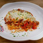 Spaghetti with chicken Parmesan
