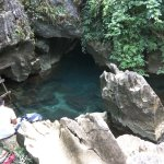 Blue lagoon outside the cave
