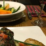 Lamb dish with roasted new potatoes and vegetables
