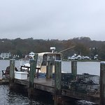 Lobster boat with traps.