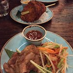 Fish cakes and Thai herb chicken