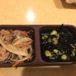 Edamane and Seaweed Salad and a fish in vingear sauce
