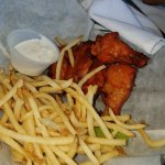 chicken wings and fries