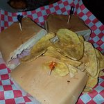 sandwich cubano with plantain chips