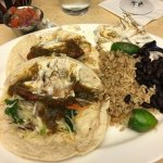 Blackened Fish Tacos - saucy cold fish, hard rice, dry beans YUM!