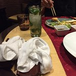 Used hand towels just left on our table whilst food arrived and we started our meal.