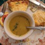 Split pea soup and quiche with zucchini