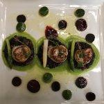 Exquisite presentation of scallop entree