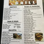 Front page of BW's menu