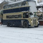 One of the transport buses at the height of the snowstorm!
