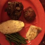 3-entree meal with stuffed potato and asparagus