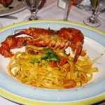 My husband had the lobster special, prepared with Fetucinni Fra Diablo and enjoyed it immensely.