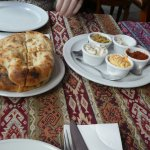five dip platter with Turkish bread