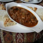 Lamb hot pot with rice and bread
