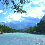 Mountains to right of Bow Falls