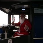 One of the friendly drivers dressed as Santa