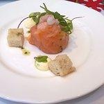 Starter - Rosette of smoked salmon & prawns, fresh lemon and garlic mayo, focaccia