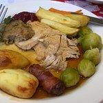 Main - Roast turkey breast & leg, chestnut stuffing, bacon rolls and gravy
