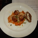 Fall Marinara Turkey/ Oregana meatball, Rice noodles in Acorn squash sauce