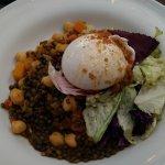 Burrata with lentils, radicchio, etc. Also very nice