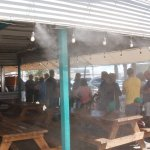 A view of the line up, misters, and outdoor seating area