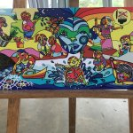More student art work on display at Biomuseo during visit