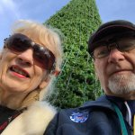 Selfie by the Christmas Tree at Six Flags Holiday in the Park.