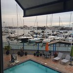Pool and marina view room