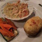 Roasted veggies: best thing. Double stuffed potato seemed pre-fab, sea food alfredo: heavy!