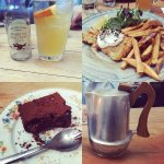 Clockwise from top left: sparkling apple juice, fish and chips, tea, brownie