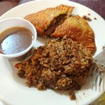 meat pie and dirty rice