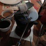Toasting marshmallows over the hibachi