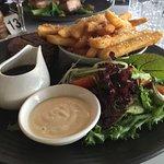 Grain Fed Black Angus Eye Fillet, house salad, parmesan & black paper chips, truffle mayo, jus