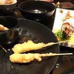 Have never seen shrimp tempura on skewers