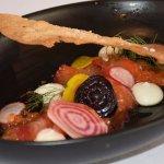 Beet cured ocean trout, buttermilk dressing, beetroot & fennel lavosh