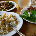 Fried rice, Beef with ginger and schallots, Salt and pepper pork ribs