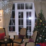 The Christmas tree in the foyer