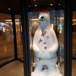 Berlin Buddy Bear in the entrance revolving front door