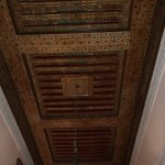 Beautifully painted wood ceiling and plasterwork