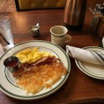 Bacon, scramble eggs and hash brown